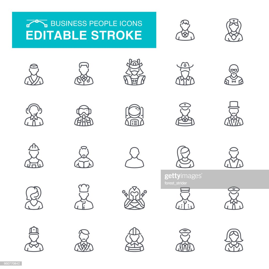 Business People Editable Stroke Icons : stock illustration