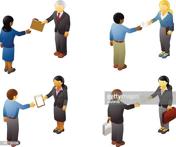 ビジネスの人々のファイルを交換