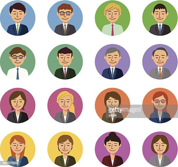 business people eyes closed - eyes closed stock illustrations, clip art, cartoons, & icons