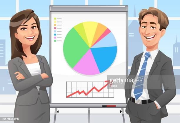 business people giving presentation - finance and economy stock illustrations, clip art, cartoons, & icons
