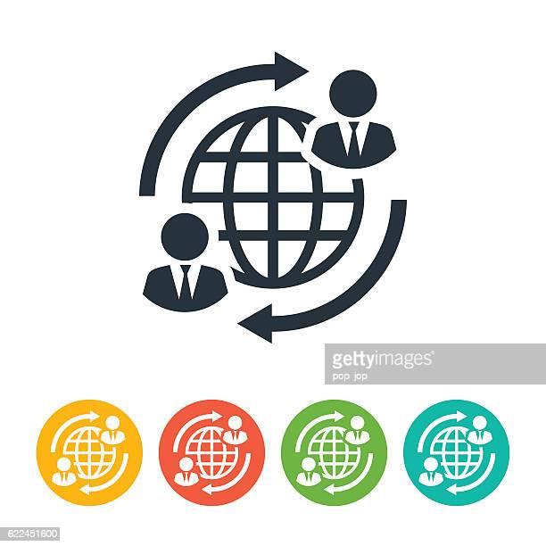 Business people globe communication icon