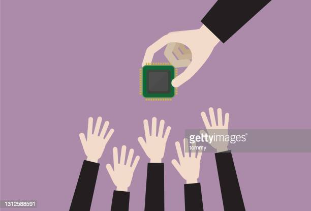 business people grab a computer chip - sold out stock illustrations