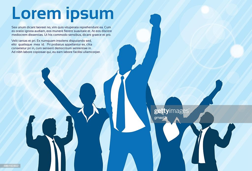Business People Group Silhouette Excited Hold Hands Up