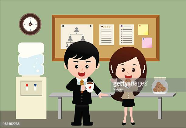 business people having coffee time - lunch break stock illustrations, clip art, cartoons, & icons