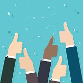 Business  people holding many thumbs thumbs up. Business flat ve