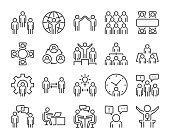 Business people icon. Business people line icon set. Editable stroke, 64x64 Pixel perfect.