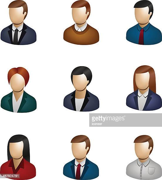 business people icon set 3d - assistant stock illustrations, clip art, cartoons, & icons