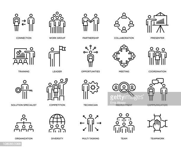 business people icon set - diversity stock illustrations