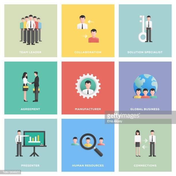 illustrations, cliparts, dessins animés et icônes de les gens affaires icon set - international match
