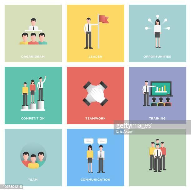 ilustraciones, imágenes clip art, dibujos animados e iconos de stock de conjunto de iconos de personas de negocios - diseño plano