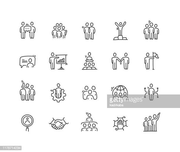 business people icon set - pencil drawing stock illustrations