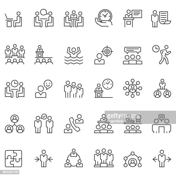 business people icon set - organised group stock illustrations