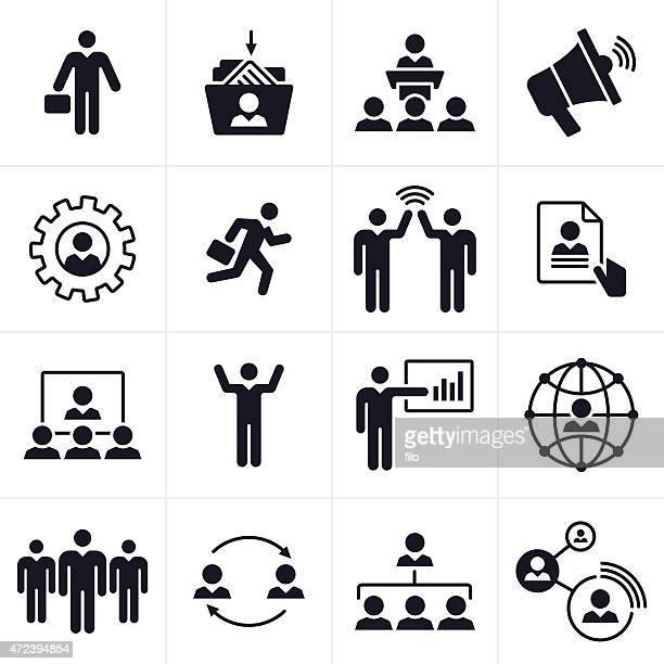 ilustraciones, imágenes clip art, dibujos animados e iconos de stock de las personas de negocios iconos y símbolos - maletín