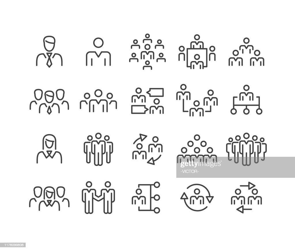 ビジネスの人々のアイコン - クラシックラインシリーズ : ストックイラストレーション