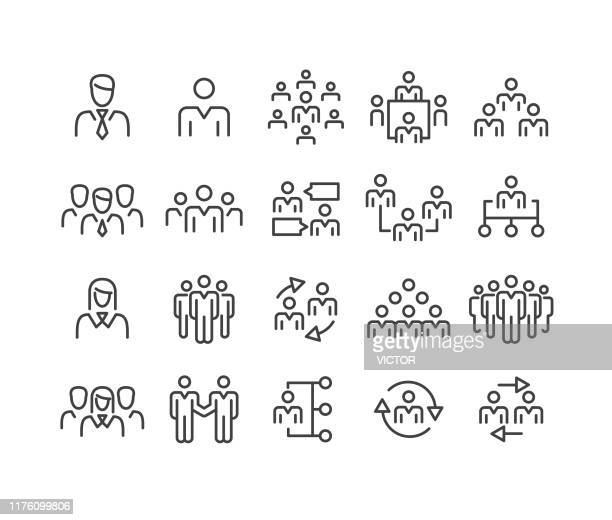 business people icons - classic line series - employee stock illustrations