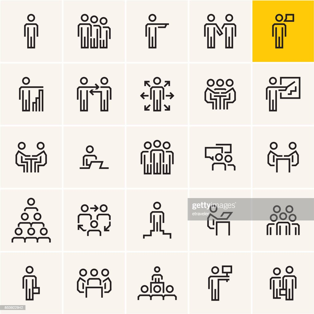 business people icons set, business and communications