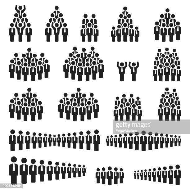 business people icons - population explosion stock illustrations