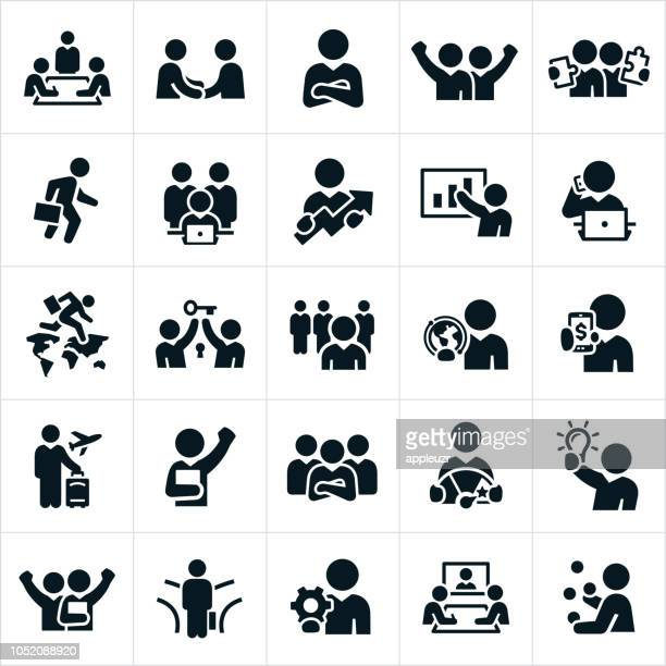 business people icons - business travel stock illustrations, clip art, cartoons, & icons