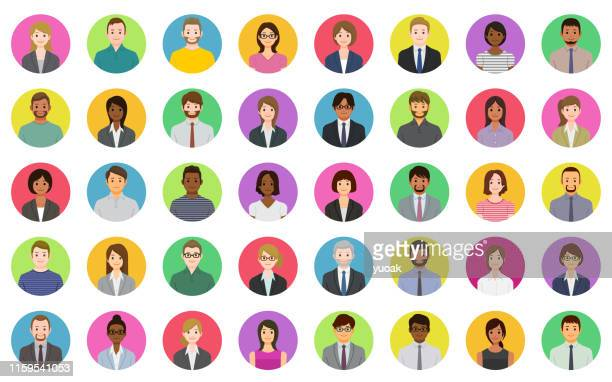 business people icons - human face stock illustrations