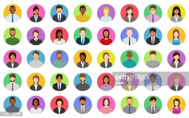 business people icons - obscured face stock illustrations