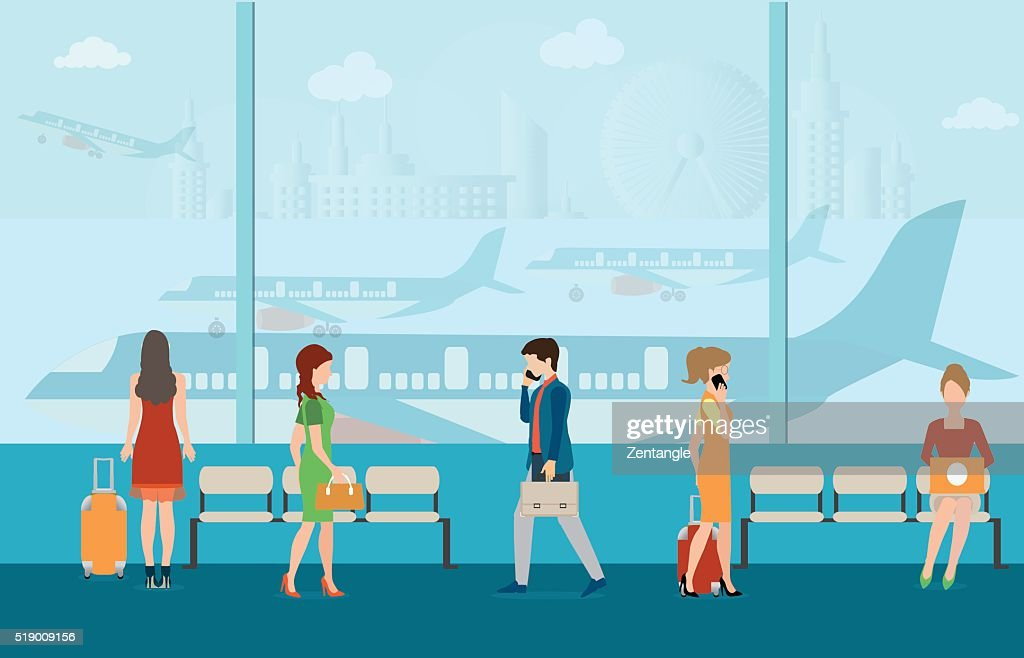 Business people in airport terminal.