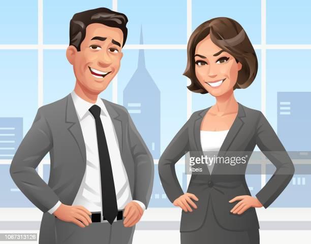 illustrazioni stock, clip art, cartoni animati e icone di tendenza di uomini d'affari in ufficio - rivolto verso l'obiettivo