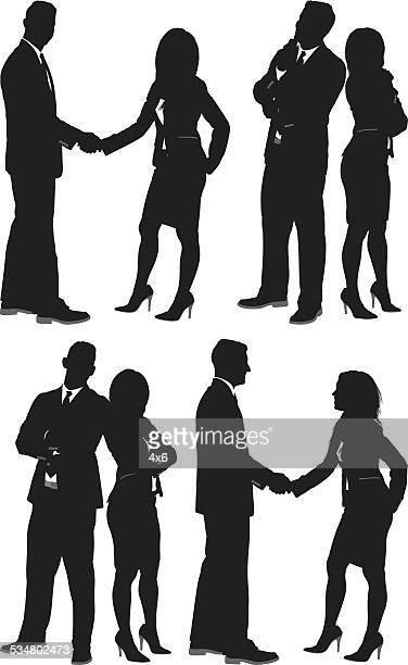 business people in various actions - back to back stock illustrations, clip art, cartoons, & icons