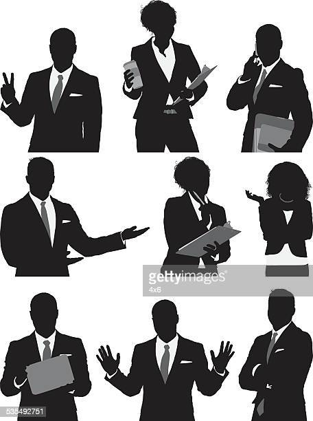 business people in various actions - waist up stock illustrations