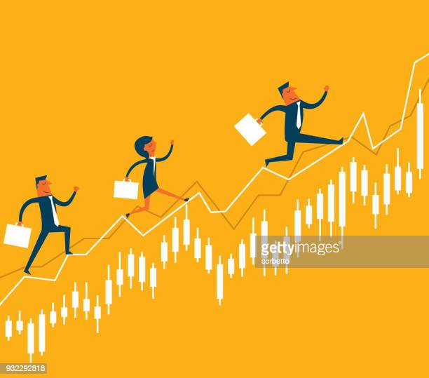 geschäftsleute, die an der börse springen - liniendiagramm stock-grafiken, -clipart, -cartoons und -symbole