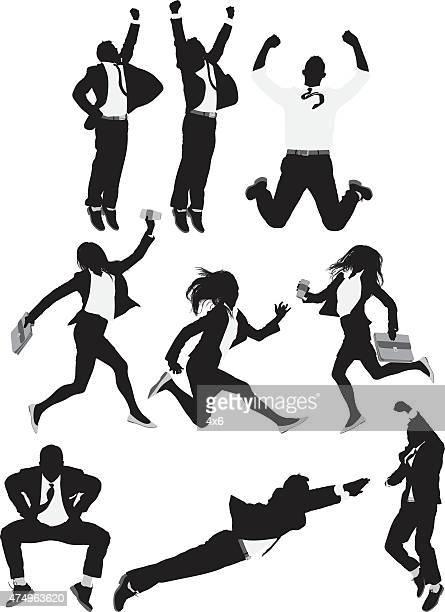 illustrations, cliparts, dessins animés et icônes de gens d'affaires de saut - tenir