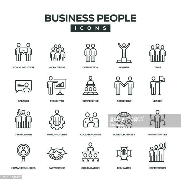 Business People Line Icon Set