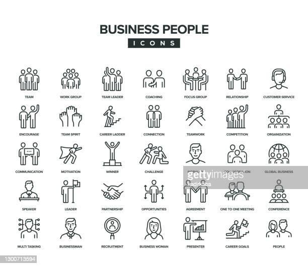 business people line icon set - fokusgruppe stock-grafiken, -clipart, -cartoons und -symbole