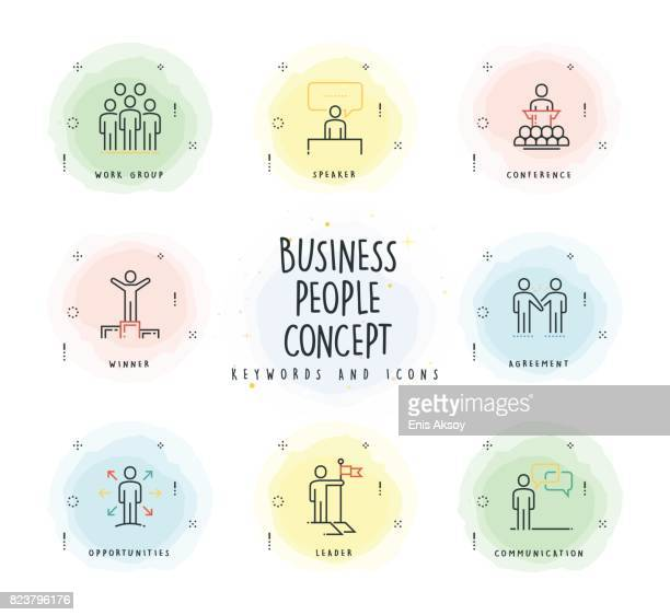 Business People Line Icon Set with Watercolor Patch