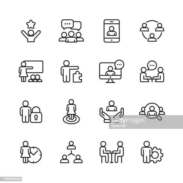 geschäftsleute linie symbole. editierbare schlaganfall. pixel perfect. für mobile und web. - präsentation rede stock-grafiken, -clipart, -cartoons und -symbole