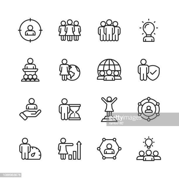 ilustrações, clipart, desenhos animados e ícones de pessoas de negócios linha de ícones. editável, acidente vascular cerebral. pixel-perfeito. para mobile e web. contém ícones como palestra, pessoa de negócios, comunicação, gestão do tempo, procurar trabalho. - grupo de objetos
