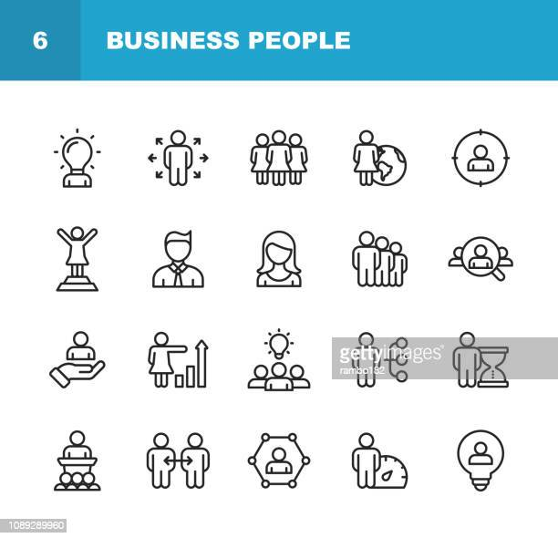business people line icons. editable stroke. pixel perfect. for mobile and web. contains such icons as lecture, business person, communication, time management, job hunting. - light bulb stock illustrations, clip art, cartoons, & icons
