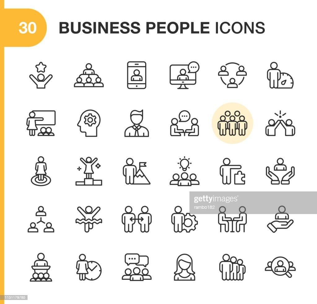 Ícones da linha dos executivos. Traçado editável. Pixel perfeito. Para Mobile e Web. Contém ícones como Smartphone, recursos humanos, colaboração, liderança, reunião. : Ilustração
