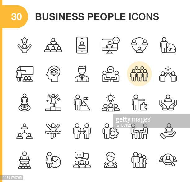 business people line icons. editable stroke. pixel perfect. for mobile and web. contains such icons as smartphone, human resources, collaboration, leadership, meeting. - leadership stock illustrations