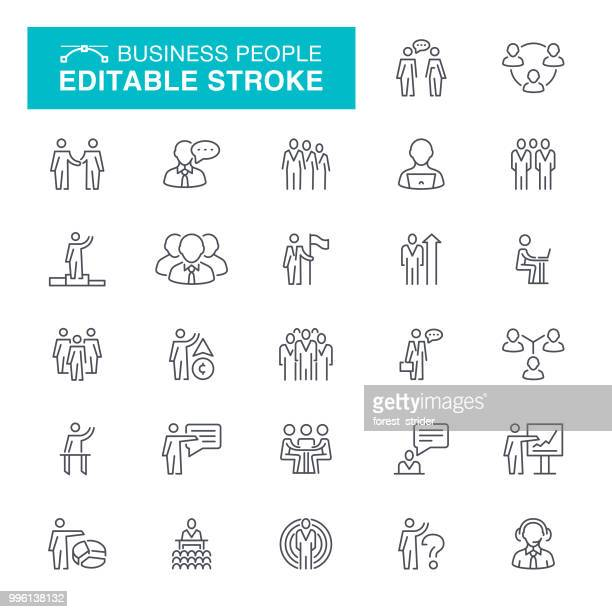 business people line icons - presenter stock illustrations