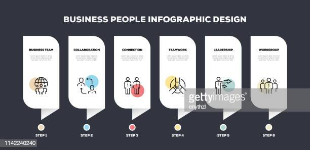illustrations, cliparts, dessins animés et icônes de business people line design infographique - collègue de bureau