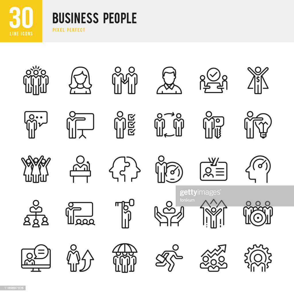 Zakelijke mensen-lineaire Vector Icon set. Pixel perfect. De set bevat iconen zoals mensen, teamwork, presentatie, leiderschap, groei, Manager, succes, partnership, enzovoort. : Stockillustraties