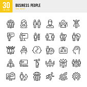 Business People - linear vector icon set. Pixel perfect. The set contains icons such as People, Teamwork, Presentation, Leadership, Growth, Manager, Success, Partnership and so on.