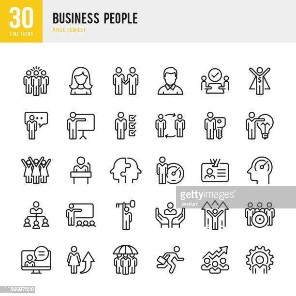 illustrazioni stock, clip art, cartoni animati e icone di tendenza di business people - linear vector icon set. pixel perfect. the set contains icons such as people, teamwork, presentation, leadership, growth, manager, success, partnership and so on. - gruppo di oggetti