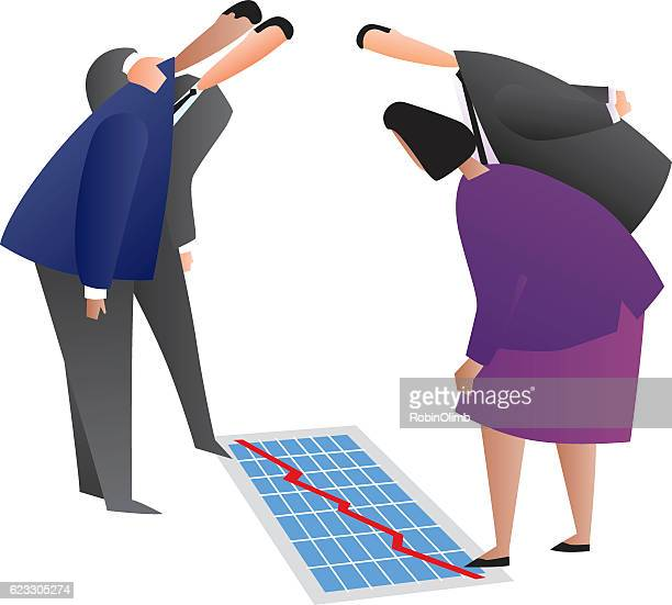 business people looking at chart on floor - bending over stock illustrations, clip art, cartoons, & icons