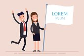 Business people man and woman holding a white flag with text. Joyful businessman and businesswoman. Flat character isolated on background. Flat vector template.