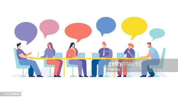 business people meeting - conference table stock illustrations, clip art, cartoons, & icons