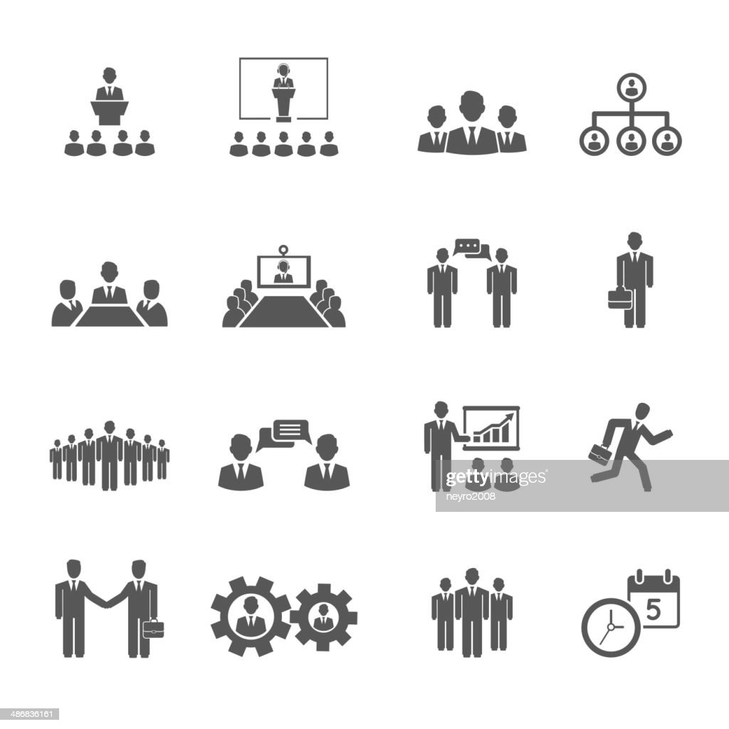 Business people meetings and conferences icons