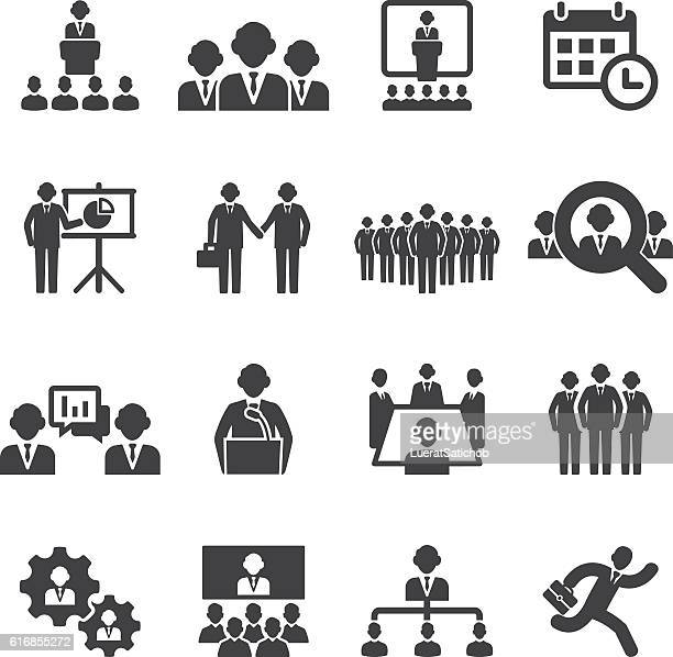Business people meetings and conferences Silhouette Icons | EPS10