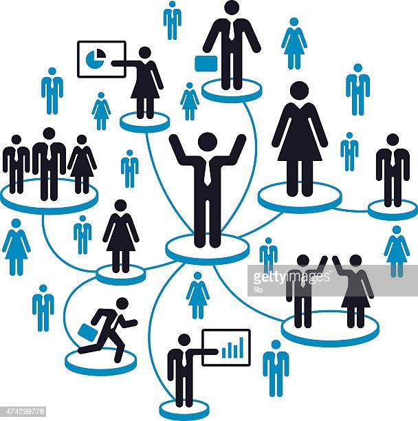 business people network - online advertising stock illustrations, clip art, cartoons, & icons