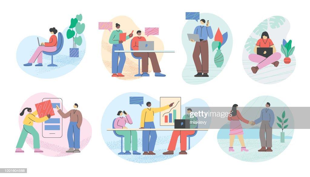 Empresários escritório vida : Ilustração